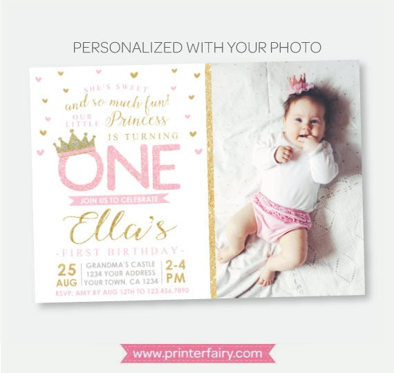 Princess first birthday invitation with photo royal birthday party princess first birthday invitation with photo royal birthday party crown invitation pink gold personalized digital invitation filmwisefo