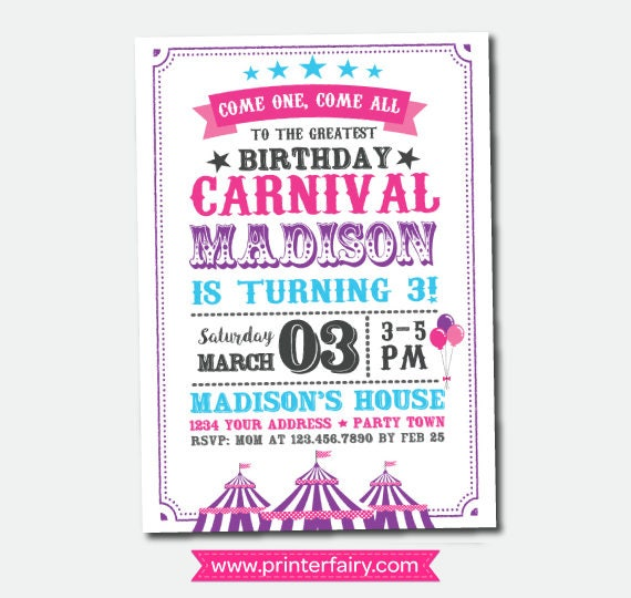 Circus Invitation Carnival Birthday Party Clown Personalized Invites