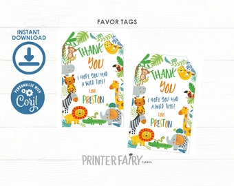 Jungle Favor Tags, EDITABLE, Tropical, Zoo Thank You Tags, Jungle Animals, Lion, Tiger, Monkey, Sloth, Labels, INSTANT DOWNLOAD