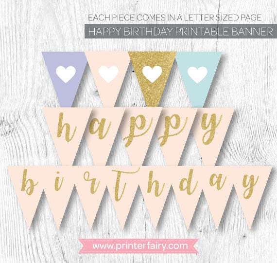 Unicorn Banner, Glitter Banner, Pink and gold banner, Printable Banner, Pink and gold first birthday decorations, Instant download
