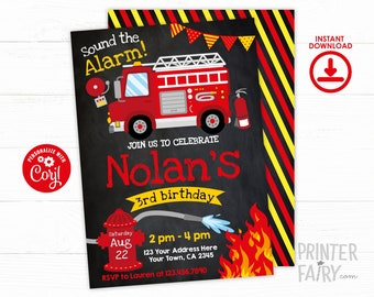 Firefighter Invitation, EDITABLE Fire fighter Birthday Party, Fireman Invitation, Firetruck Birthday Invitation, INSTANT DOWNLOAD