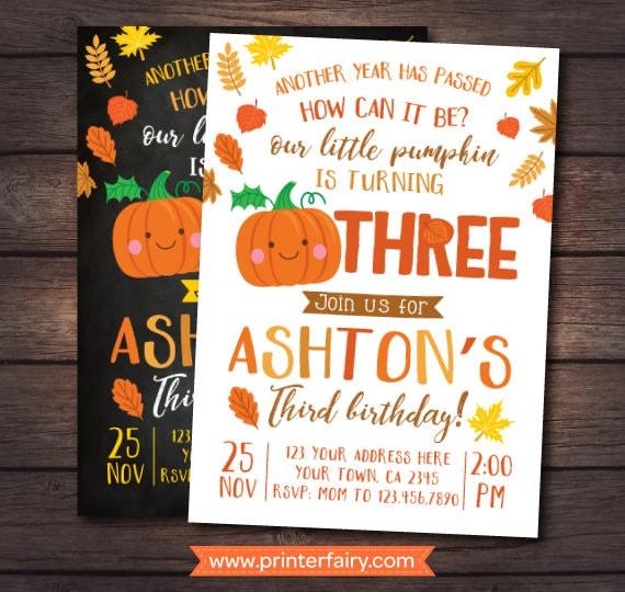 little pumpkin third birthday invitation pumpkin invitation autumn