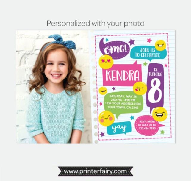 Emoji Birthday Invitation With Photo Party Emoticon Personalized Digital