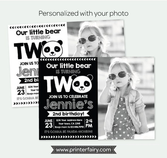 Panda 2nd Birthday Invitation With Photo Party Girls Or Boys Black White Personalized Digital 2 Options