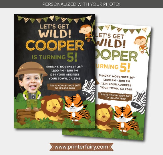 safari boy invitation with photo jungle invitation zoo birthday