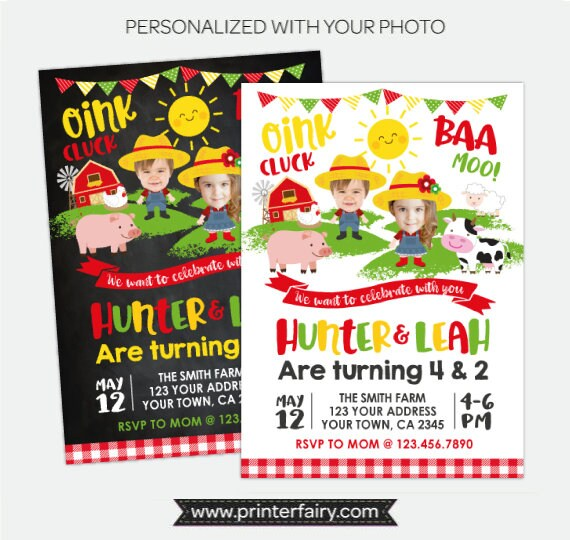 Farm birthday invitation with photo sibling birthday party joint farm birthday invitation with photo sibling birthday party joint party invite barnyard party personalized digital invitation stopboris Images