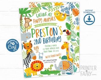 Jungle Birthday Invitation, EDITABLE Invite, Safari Invitation, Zoo Birthday, Jungle Animals, Lion, Tiger, Monkey, Sloth,  INSTANT DOWNLOAD