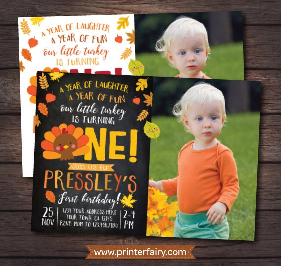 Little Turkey First Birthday Invitation With Picture Thanksgiving