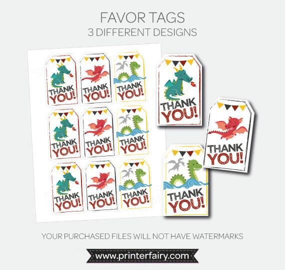 Dragon Thank You Tags Printable Favor Tags Dragon Birthday Party