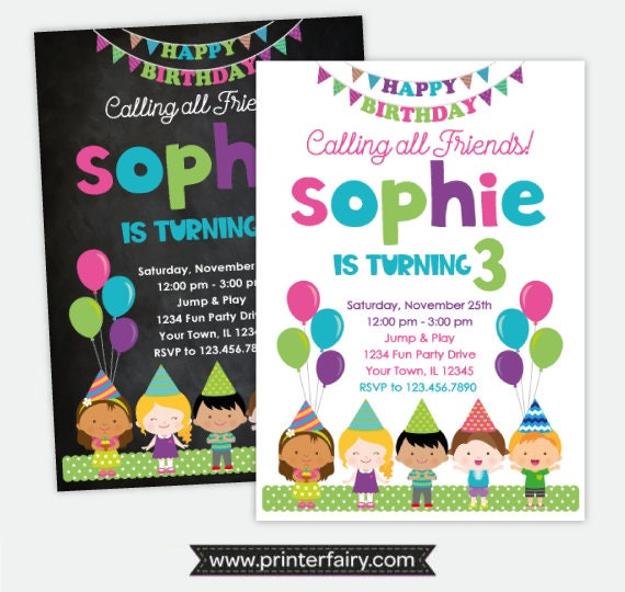 Friends Birthday Invitation Party Girls Balloon Invitations Kids Personalized Digital 2 Options