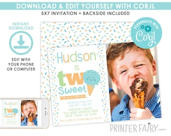 Two Sweet Invitation with Photo, EDITABLE, Ice Cream Invitation, Sprinkles, Ice Cream Birthday Party, Instant Download