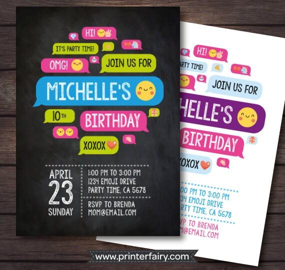 Emoji Party Invitations Birthday Invite
