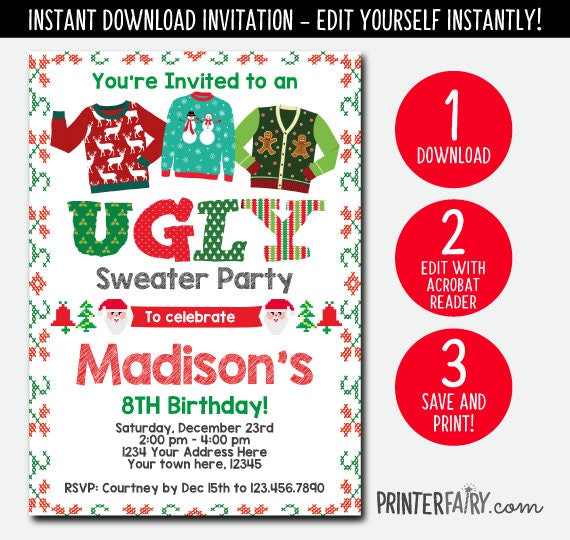 Editable ugly sweater birthday invitation holiday party invitation editable ugly sweater birthday invitation holiday party invitation christmas party christmas invitation instant download digital solutioingenieria Image collections