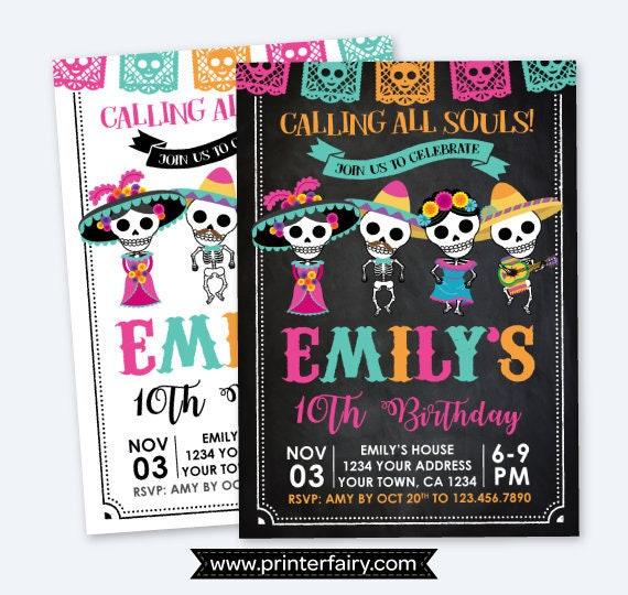 Day Of The Dead Birthday Invitation Dia De Los Muertos Party Sugar