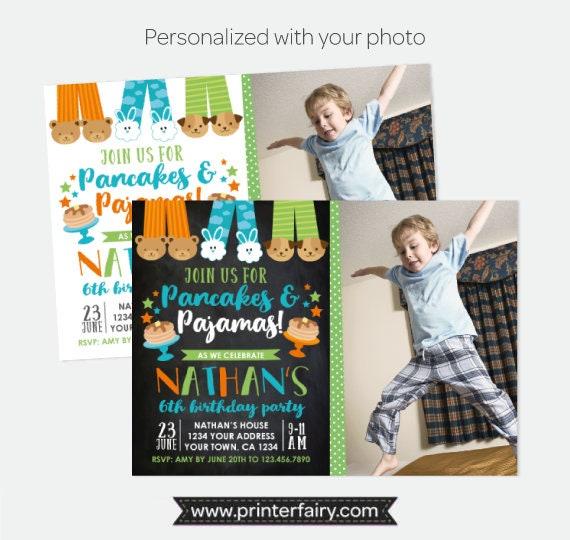 814ae285a340 Pancakes and Pajamas Boy Birthday Invitation with Photo