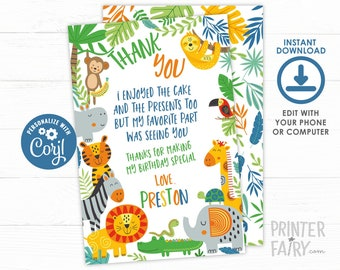Jungle Thank You Cards, EDITABLE, Tropical, Zoo Thank You Notes, Jungle Animals, Lion, Tiger, Monkey, Sloth, INSTANT DOWNLOAD