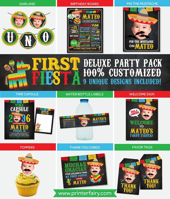 graphic regarding Cinco De Mayo Printable Decorations known as Fiesta To start with Birthday, Cinco de Mayo PRINTABLE decorations