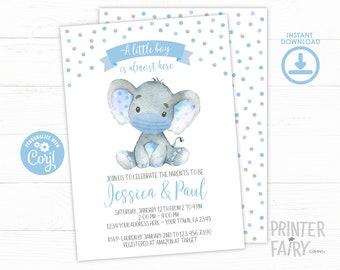 Elephant with Mask Baby Shower Invitation, EDITABLE, Boy Baby Shower, Safari Baby Shower Invitation, Elephant Baby Shower, INSTANT DOWNLOAD