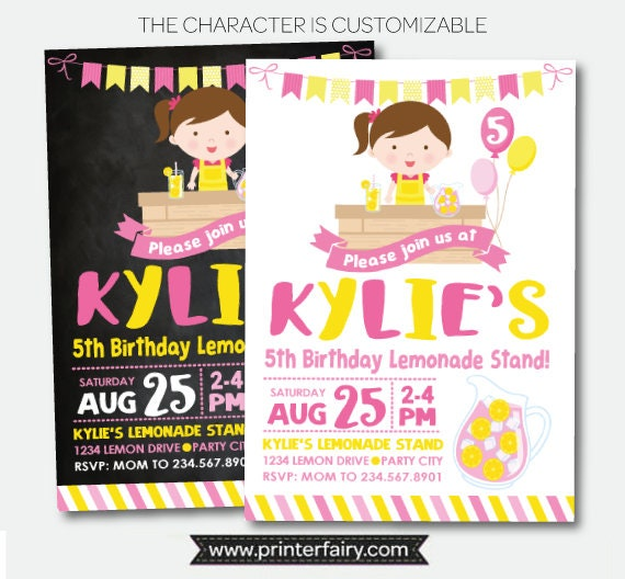 Lemonade Invitation Pink Lemonade Party Lemonade Stand Invitation