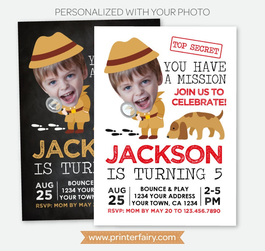 Detective invitation with photo secret agent birthday party spy detective invitation with photo secret agent birthday party spy party invite mystery birthday personalized digital invitation 2 options filmwisefo