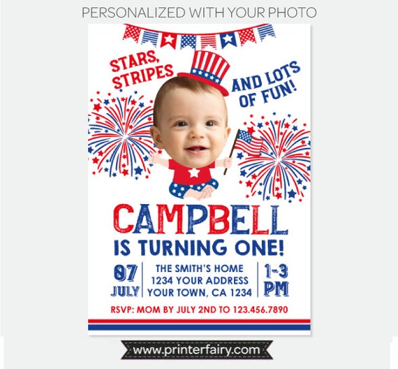 4th Of July Invitation With Photo Little Firecracker First Birthday Party Fourth Personalized Digital
