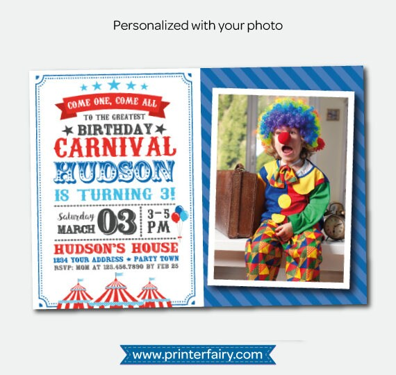 Carnival Birthday Invitation With Photo Circus Party Personalized