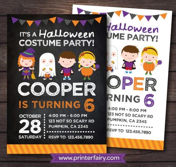 halloween birthday invitation costume party invitation halloween