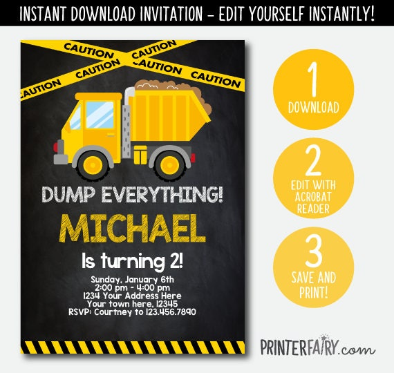 editable construction birthday invitation dump truck invitation