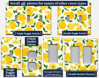 Bright Yellow Lemons, Lemon Slices Kitchen Decor Light Switch Covers and Wall Outlet Covers; Farmhouse Kitchen Light Switch Plates