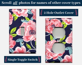 Navy Blue and Pink Peony Flower Light Switch Cover and Outlet Covers; Boho Chic Floral Bedroom Decor