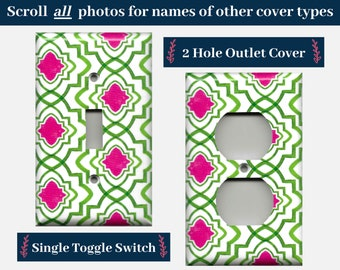 Hot Pink & Green Geometric Medallions Light Switch Plates and Wall Outlet Covers; Teen Girl Room Decor