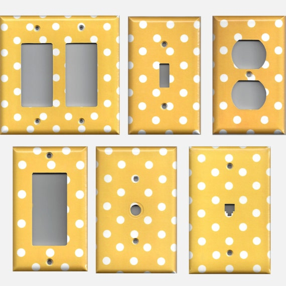 Golden Sunflower Yellow And White Polka Dot Light Switch Cover Etsy