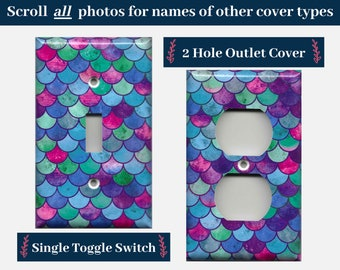 Mermaid Scales Purple Blue and Pink Light Switch Cover and Outlet Covers; Mermaid Bathroom Decor, Mermaid Birthday Gift