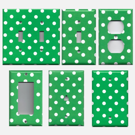 Emerald Green And White Polka Dots Light Switch Plate Covers Etsy