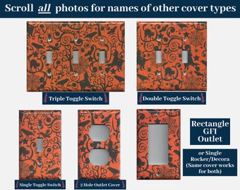 Witch Broom, Raven, Spider Web Halloween Light Switch Cover and Outlet Covers, Switch Plate Covers; Gothic Home Decor