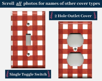Red Gingham Plaid Country Farmhouse Decor Light Switch Plates and Outlet Covers; Gingham Tablecloth/Apron Pattern
