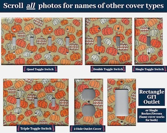 Autumn Pumpkins with Chevron and Polka Dots Light Switch Cover and Outlet Covers; Fall Decorations