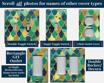 Mermaid Blue Green Gold Glitter Scales Light Switch Cover and Outlet Covers; Mermaid Bathroom, Mermaid Birthday Gift