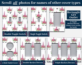 Pink Unicorn Horn and Flower Crown Light Switch Cover and Outlet Plate Covers; Unicorn Face, Unicorn Bedroom Decor