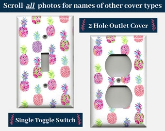 Pink and Purple Pineapple Decor Light Switch Cover and Outlet Covers; Tropical Beach House Summer Hawaiian Decor