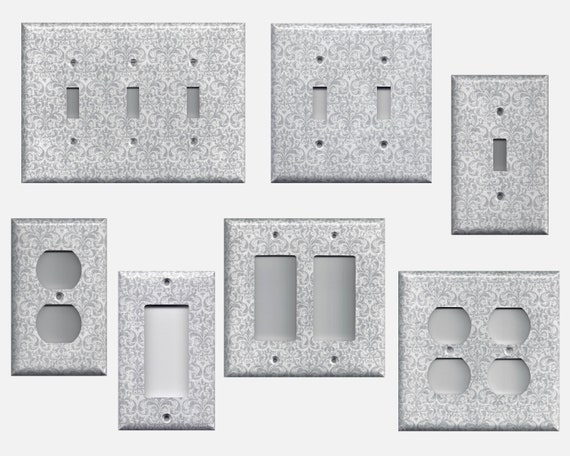 Silvergreygray Damask Light Switch Covers And Wall Outlet Etsy