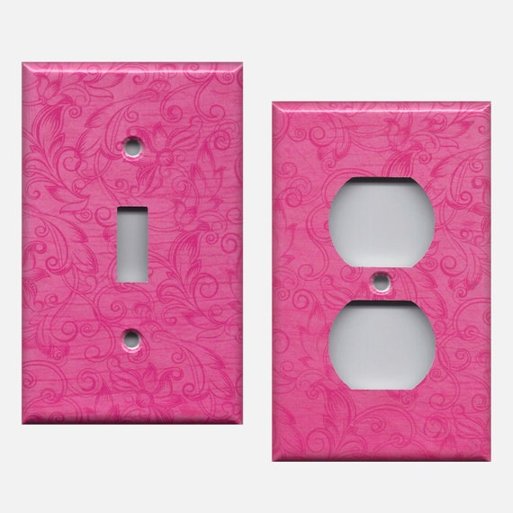 Hot Pink Floral Swirls Scroll Work Light Switch Plates And Etsy