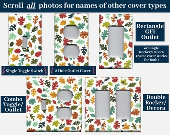 Fall Leaves Light Switch Cover and Outlet Plate Covers; Autumn Leaves Harvest Decor, Thanksgiving Decorations