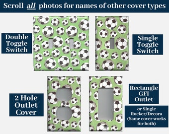 Soccer Ball/Futbol Light Switch Cover and Outlet Covers; Man Cave Sports Decor, Boys Nursery or Kids Room Decor
