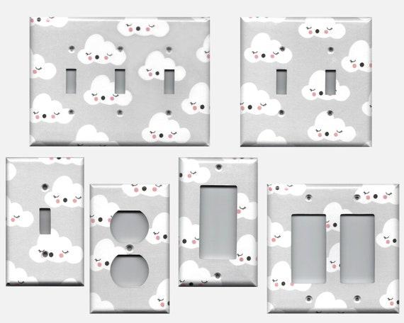 Gender Neutral Nursery Decor Grey White Clouds Light Switch Etsy