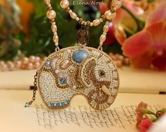 Beaded elephant pendant, necklace. Necklace Bead Embroidery Art. Aquamarine