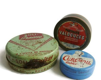Vintage french collectible advertisement tin, set of 3
