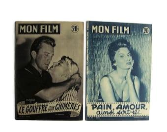 French movie magazine Mon Film vintage from 50s, set of 2