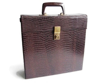 Vintage Cheney LP record storage case, brown faux snake skin, Made in England