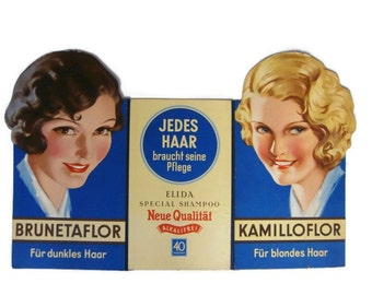 Vintage original store display 50s advertisement Elida shampoo, Made in Germany